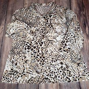 Chicos Zenergy size 3 animal print jacket